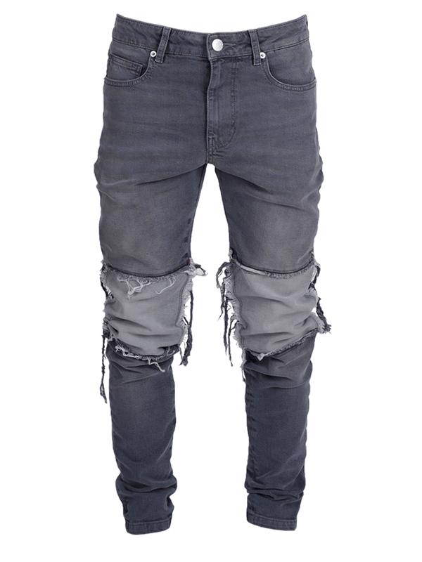 Contrast Knee Patch Denim - Light Grey