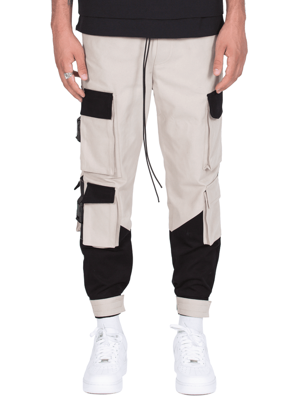 Multi Pocket Cargo Pants - Stone / Black