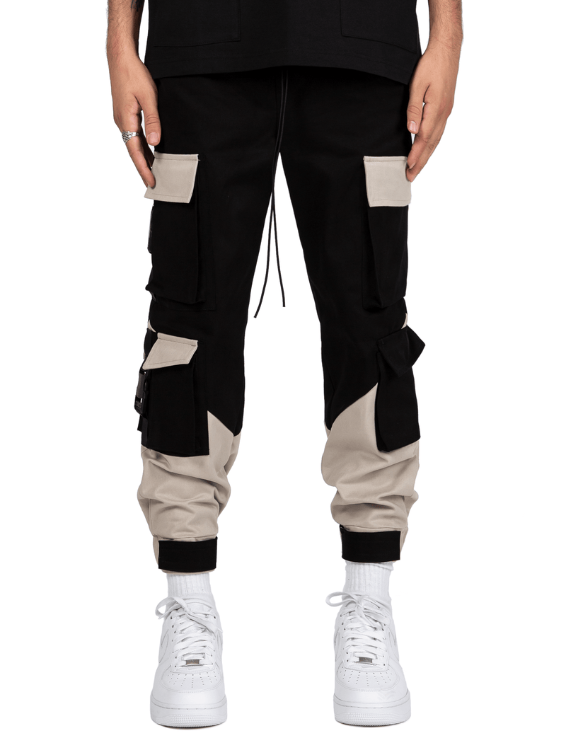Multi Pocket Cargo Pants - Black / Stone