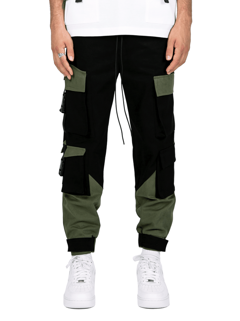 Multi Pocket Cargo Pants - Black / Forest