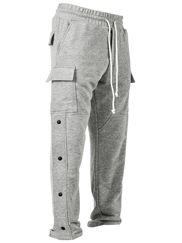 Snap Sweatpants - Heather Grey - lakenzie