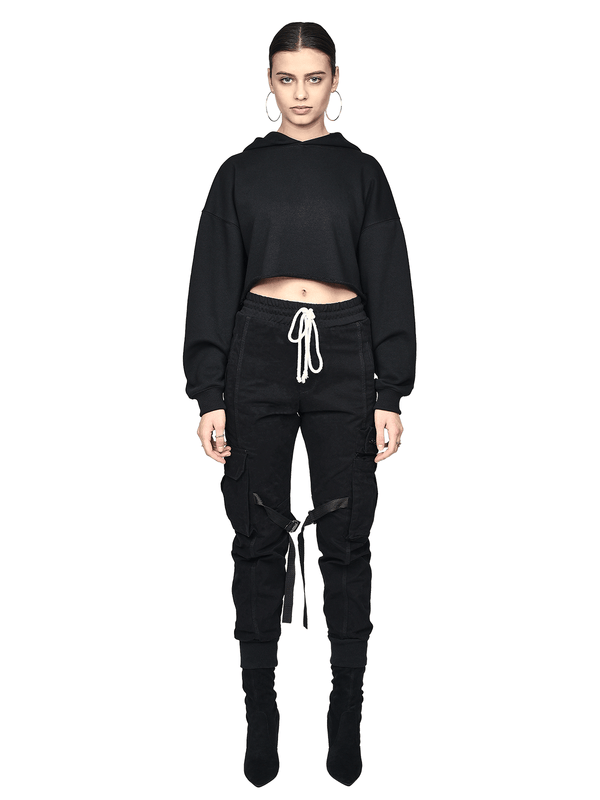 Oversized Cropped Hoodie - Black