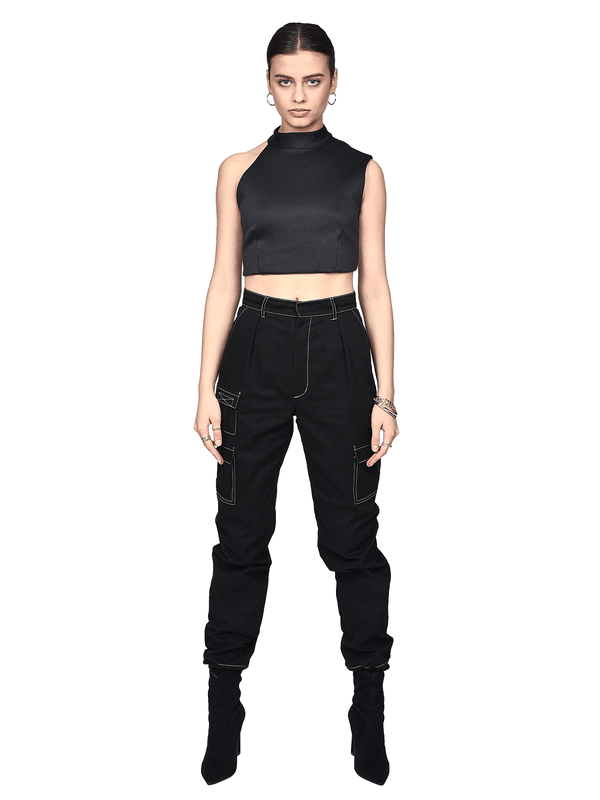 Contrast Stitch Pants - Black