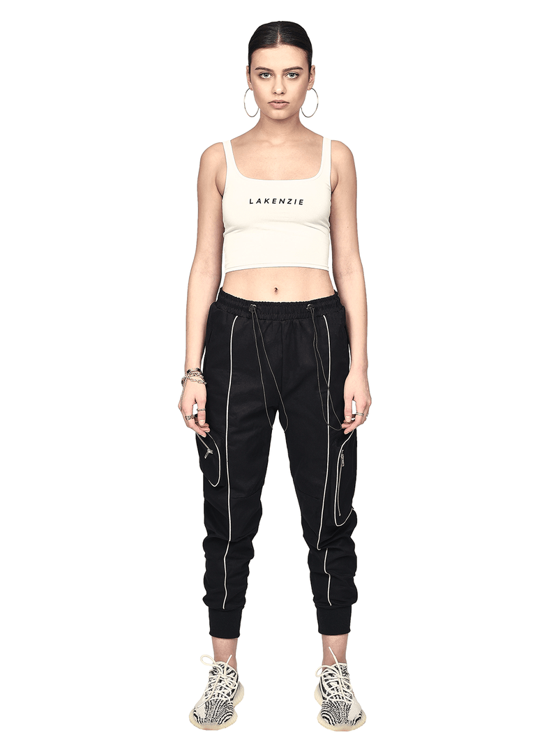 Reflective Piping Pants - Black