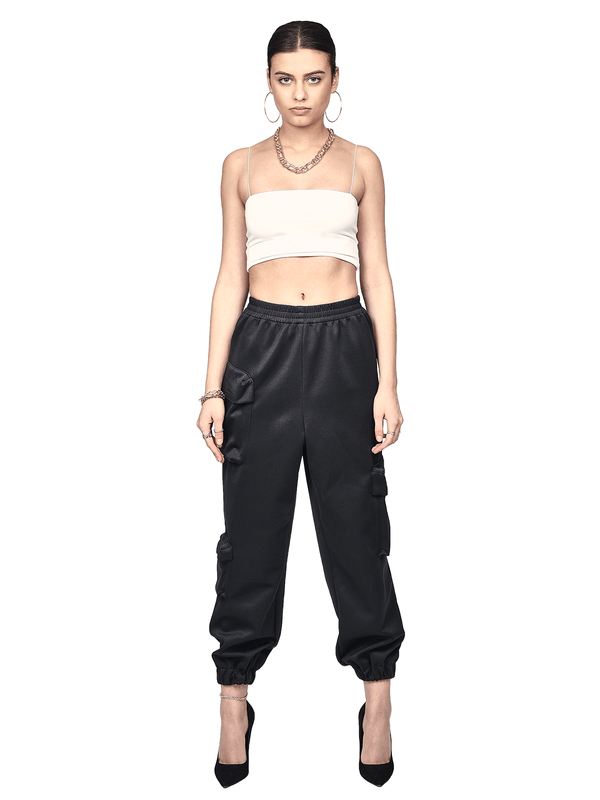 Poly Cargo Pants - Black