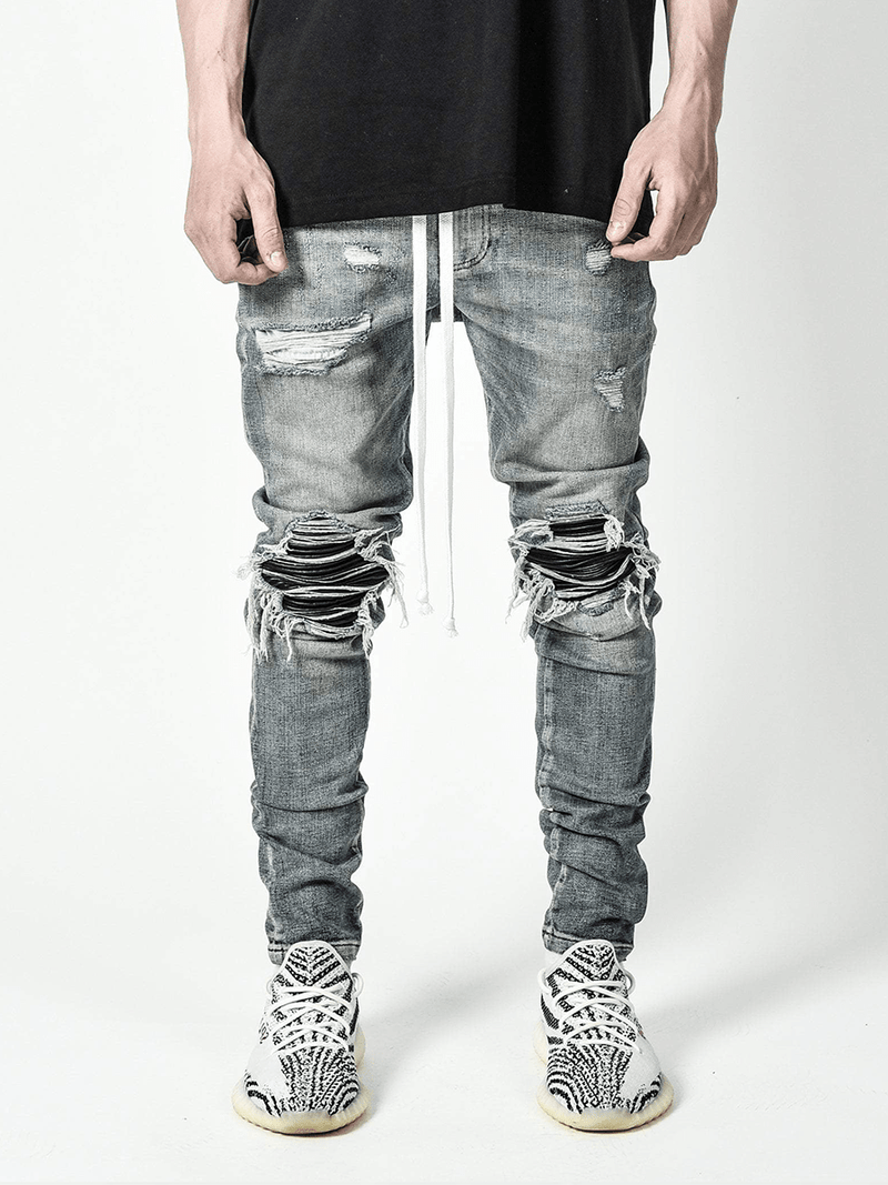 Biker Patch Denim - Light Stone