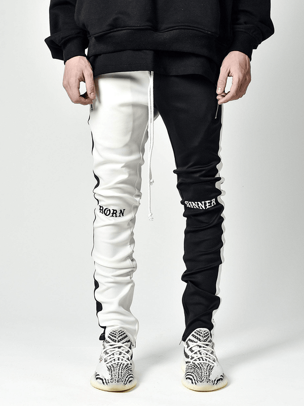 Drawstring Trackpants V3 - Black / White Born Sinner