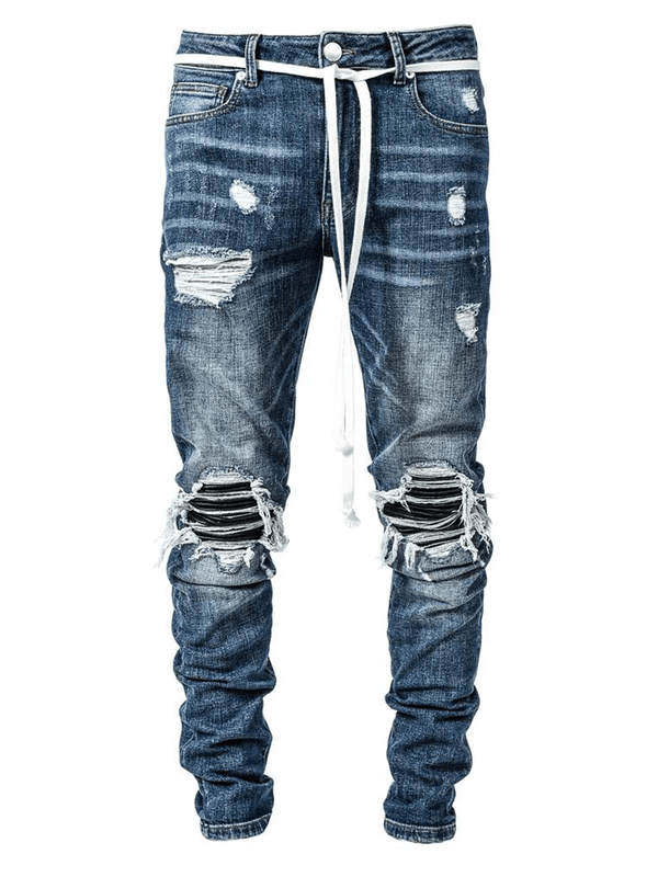 Biker Patch Denim - Mid Blue