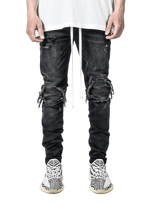 Biker Patch Denim - Black - lakenzie