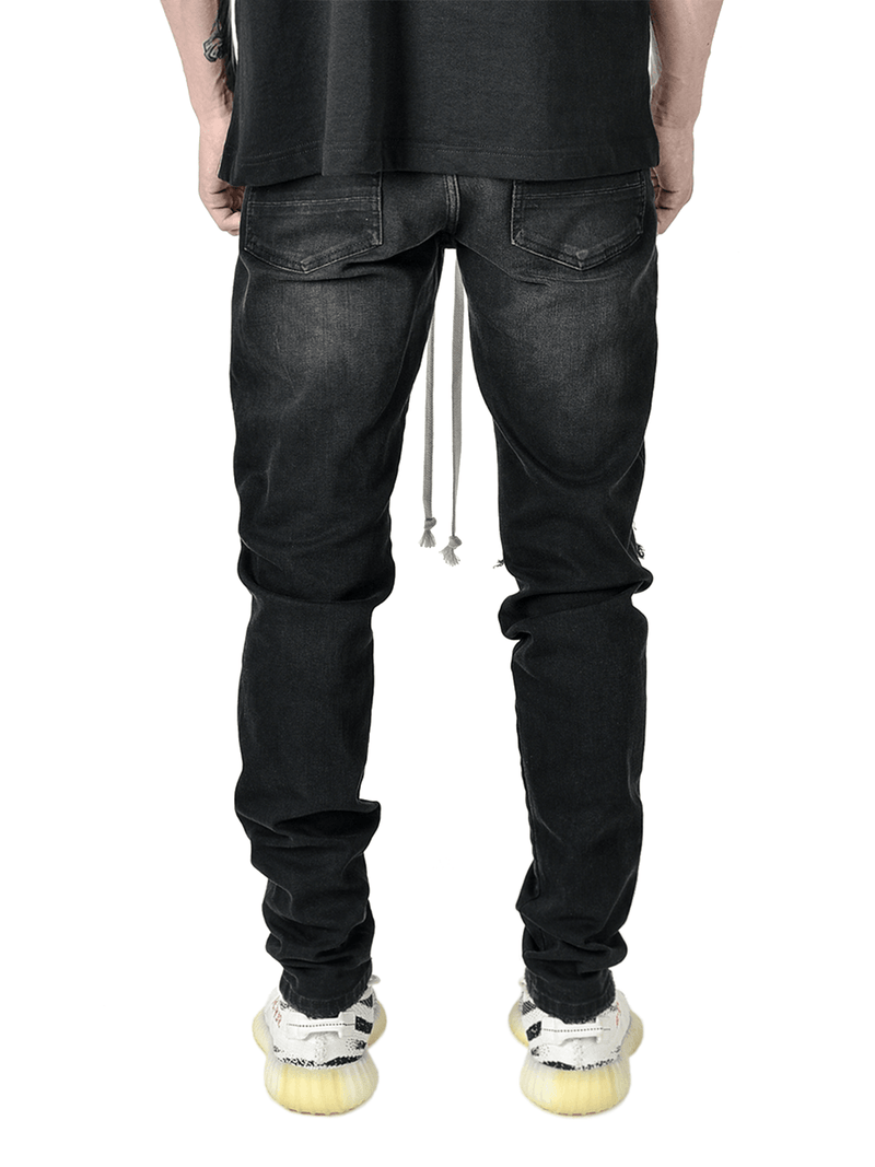 Biker Patch Denim - Black Multi - lakenzie