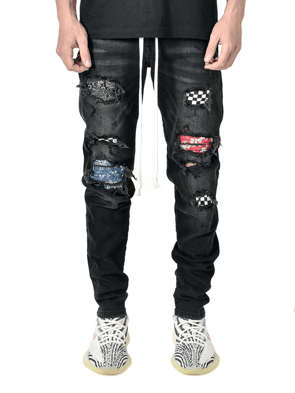Biker Patch Denim - Black Multi - Reputation Studios