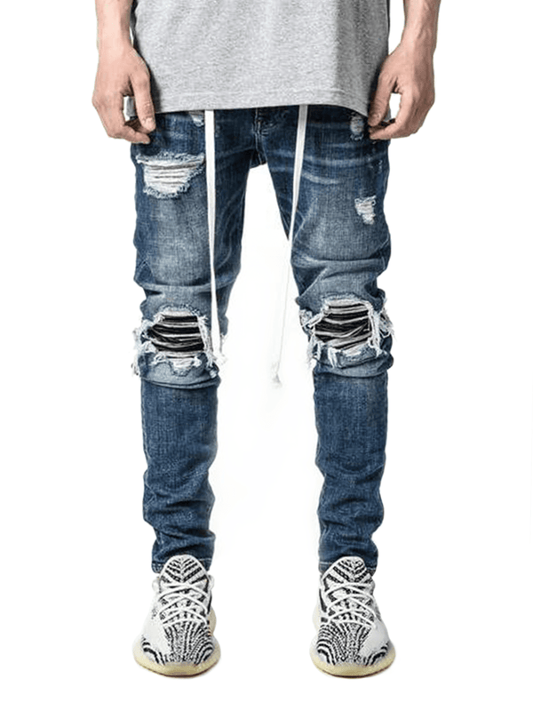 Biker Patch Denim - Mid Blue - lakenzie
