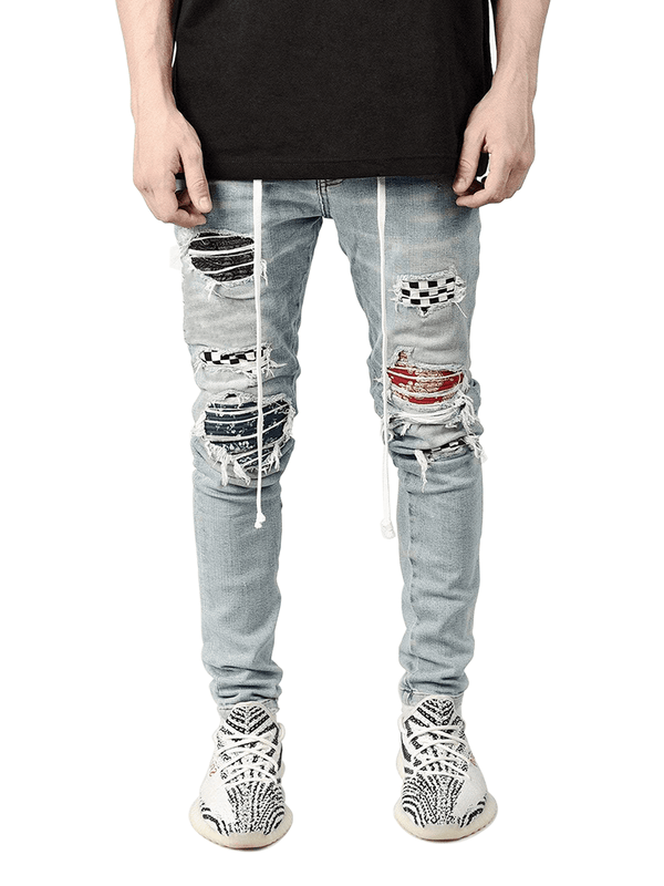 Biker Patch Denim - Multi - lakenzie