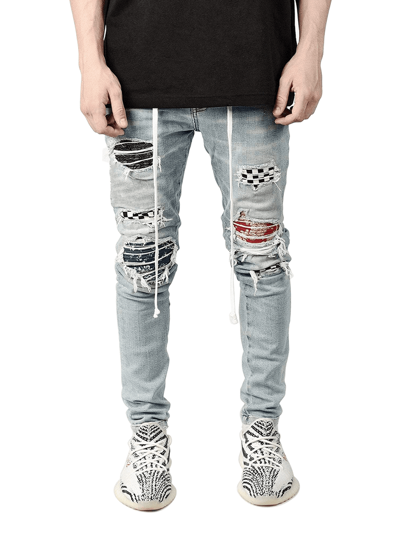 Biker Patch Denim - Multi - Reputation Studios
