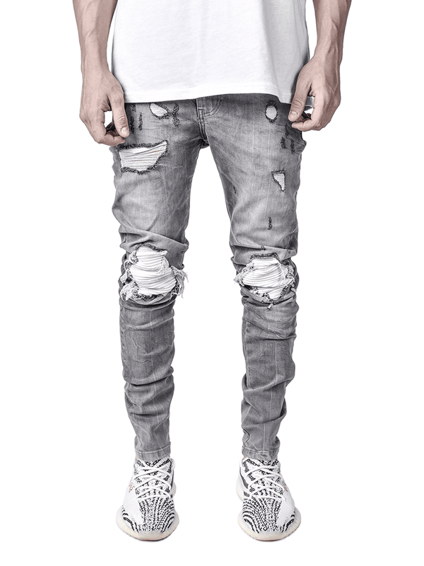 Biker Patch Denim - Stone - lakenzie
