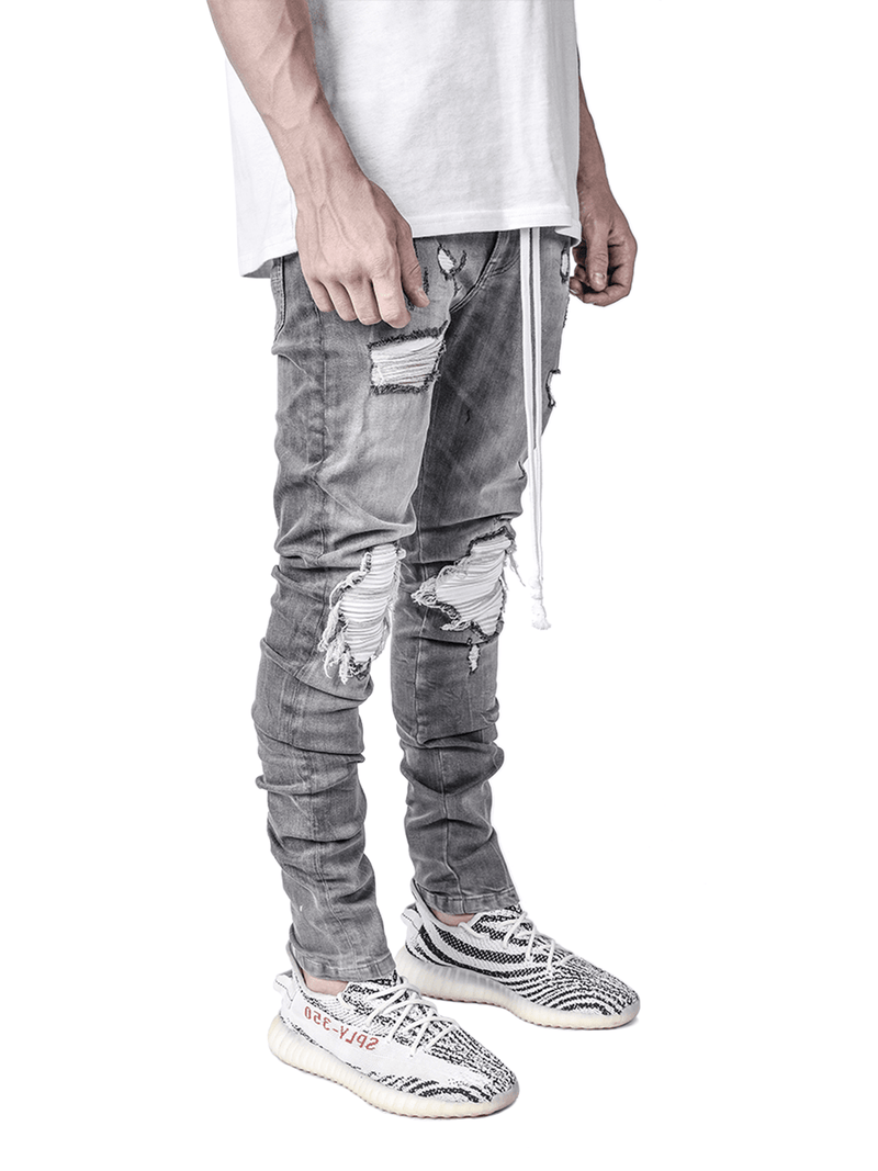 Biker Patch Denim - Stone - Reputation Studios