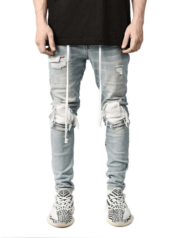 Biker Patch Denim - White - Reputation Studios