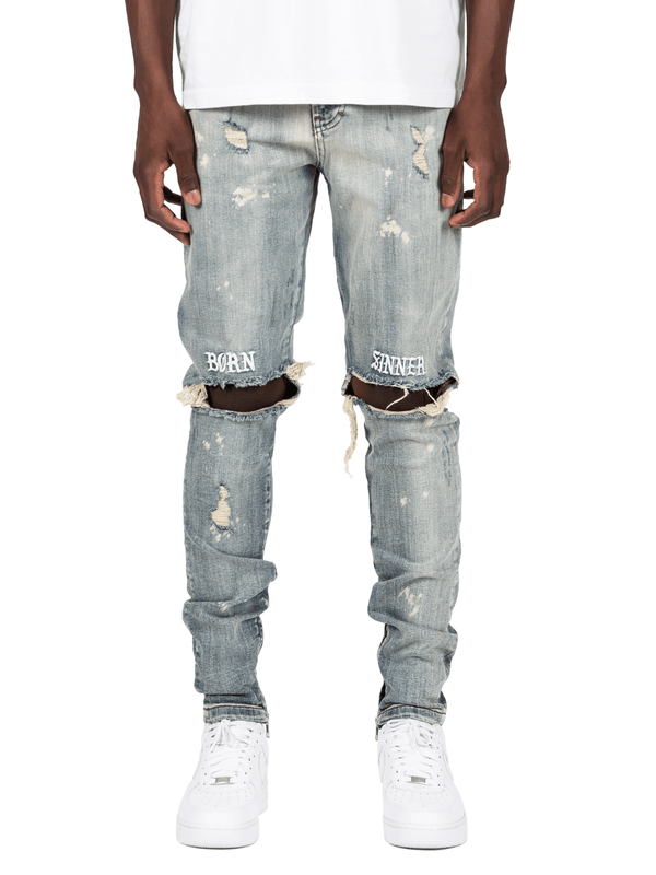Born Sinner Distressed Denim - Light Stone - lakenzie