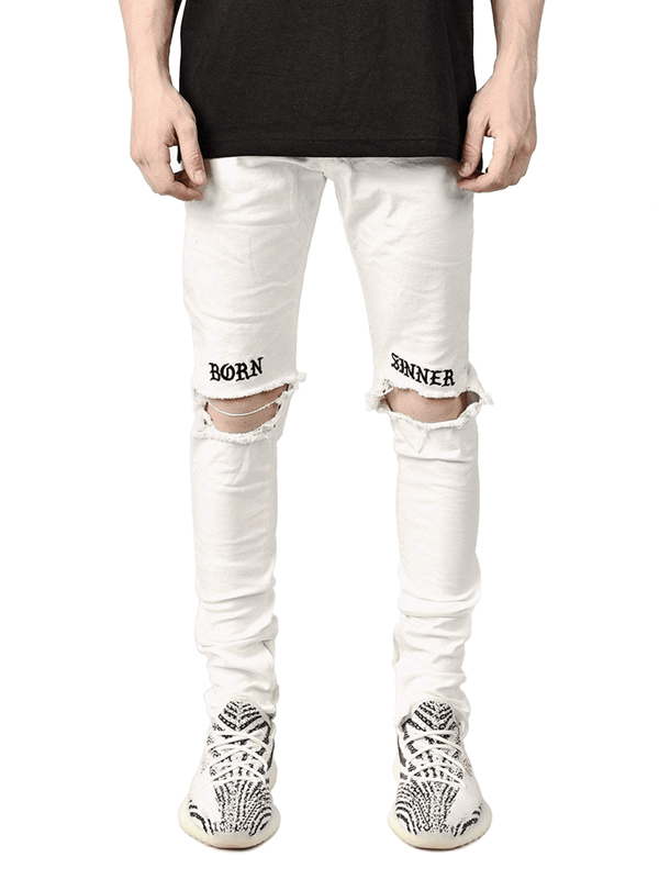 Born Sinner Distressed Denim - White