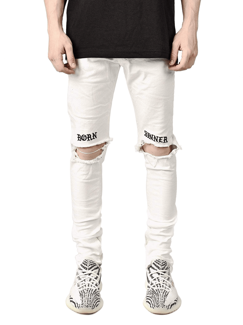 Born Sinner Distressed Denim - White - lakenzie