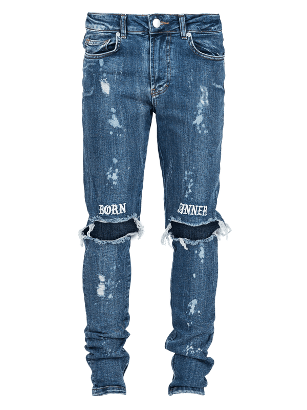 Born Sinner Distressed Denim - Dark Stone - lakenzie