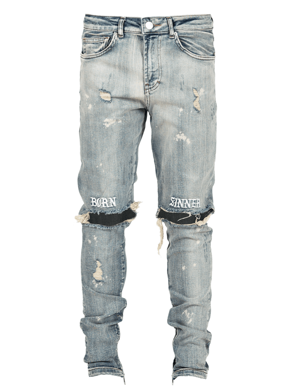 Born Sinner Distressed Denim - Light Stone - Reputation Studios