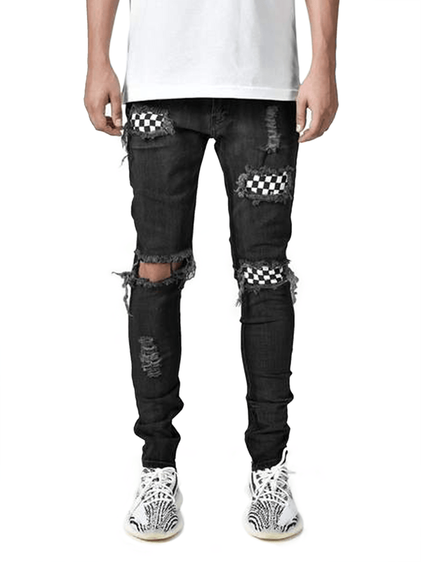 Checkered Denim - Black - Reputation Studios
