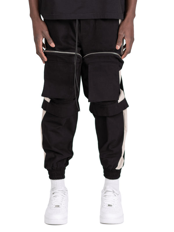 Colour-Block Cargo Pants - Black / Stone