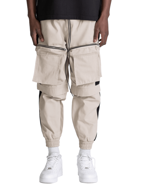 Colour-Block Cargo Pants - Stone / Black