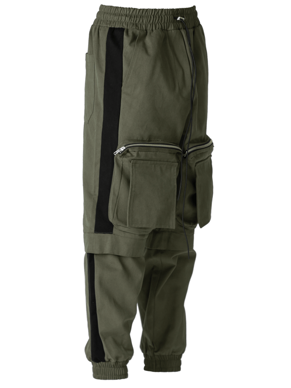 Colour-Block Cargo Pants - Forest / Black
