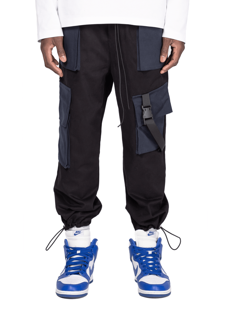 Cropped Cargo Pants - Black / Navy