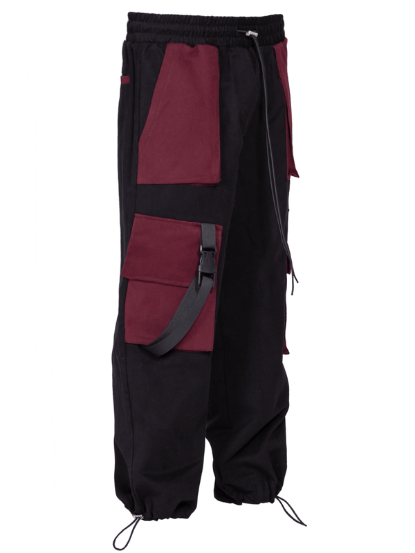 Cropped Cargo Pants - Black / Red