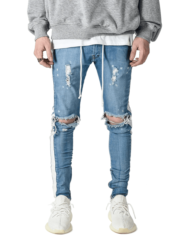 Distressed Track Denim - Light Stone