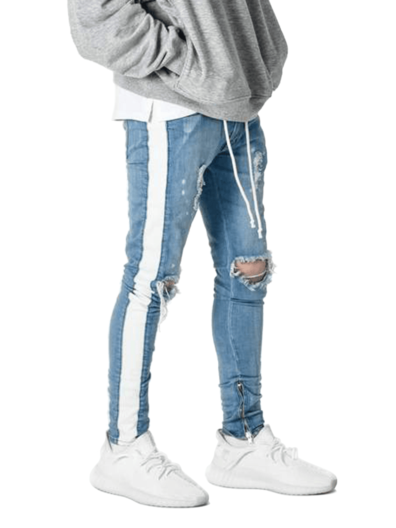 Distressed Track Denim - Light Stone - Reputation Studios