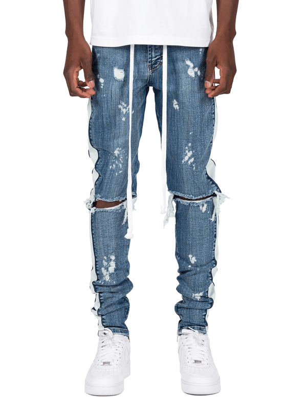 Distressed Track Denim - Dark Stone - lakenzie