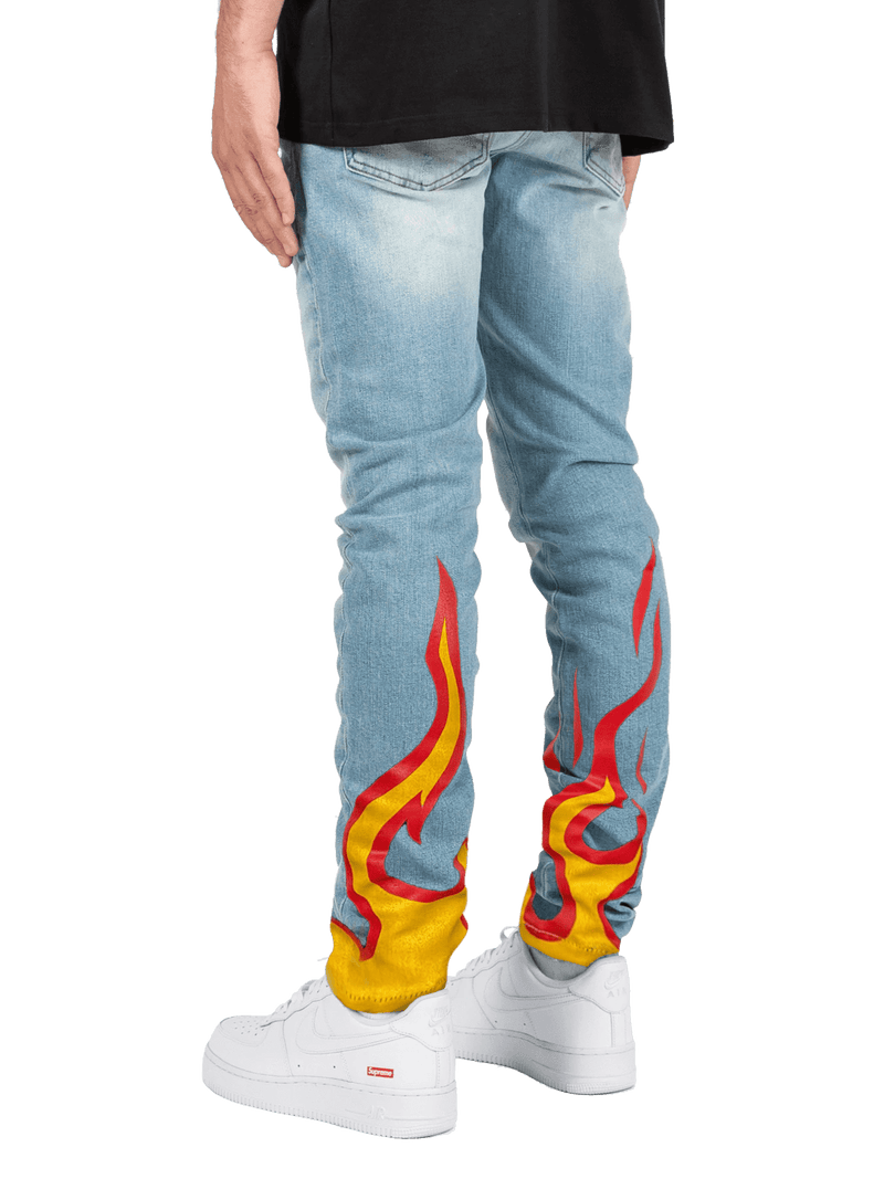 Flame Skinny Denim - Light Stone