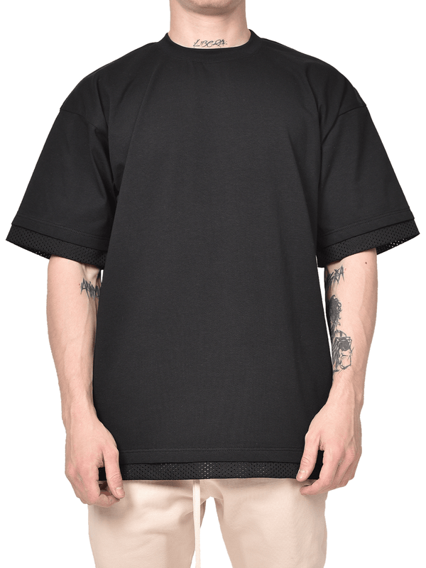 Mesh Layered Tee - Black