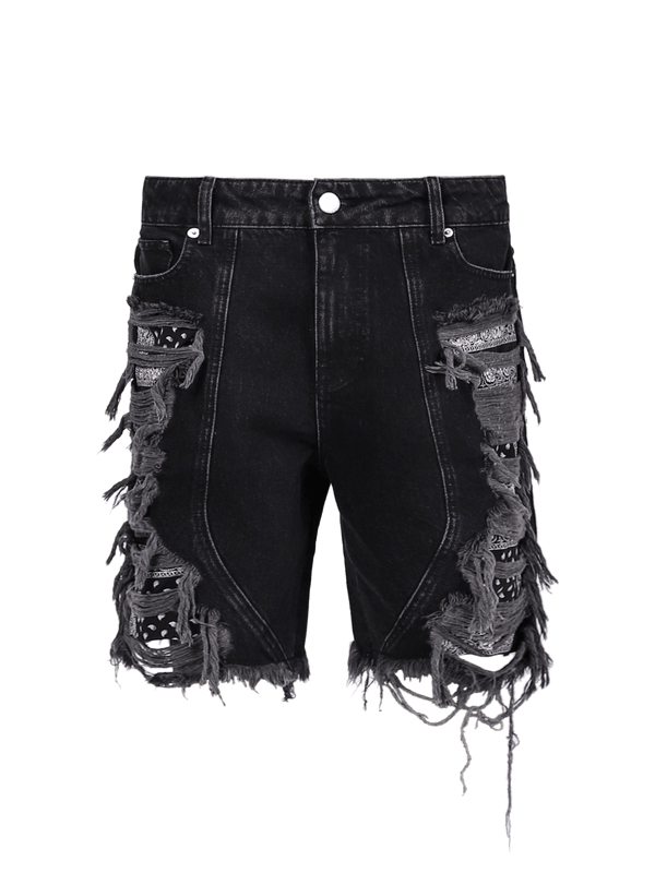 Distressed Panel Shorts - Black