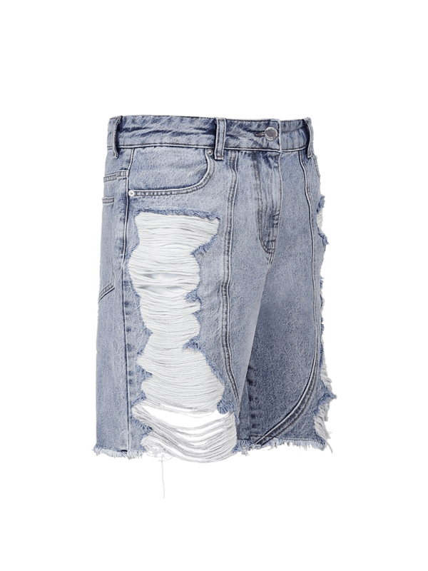 Distressed Panel Shorts - Light Stone