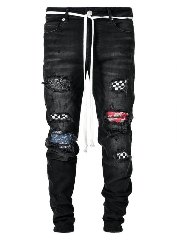 Biker Patch Denim - Black Multi