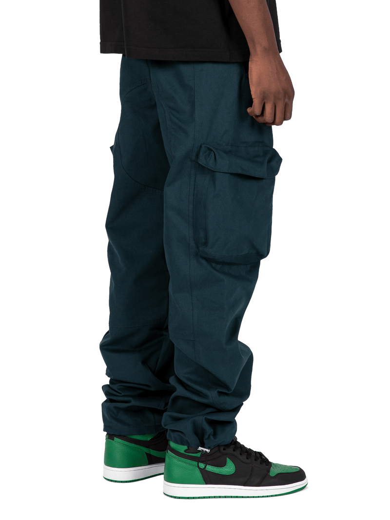 Teal Colored Acro Cargo Pants From Back Right