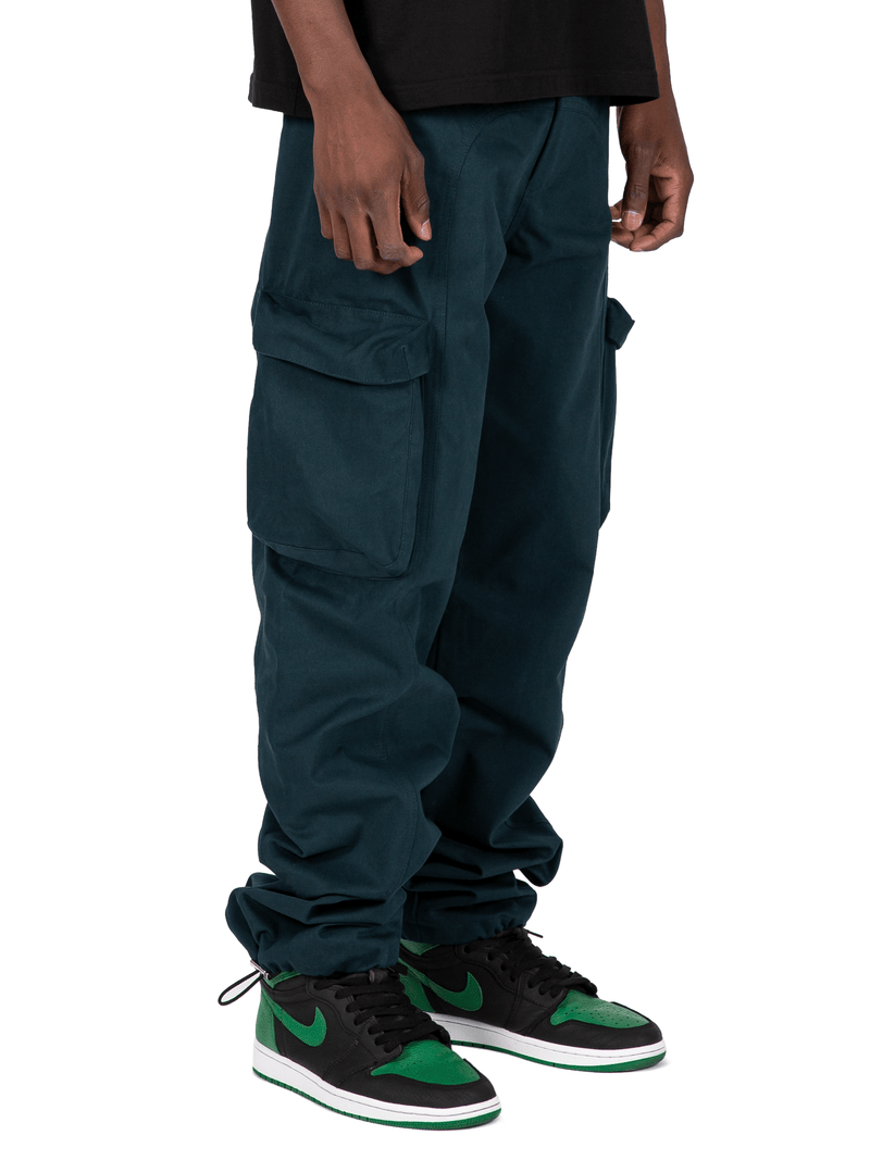 Teal Colored Acro Cargo Pants From Front Right