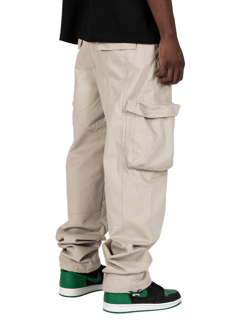 Sand Colored Acro Cargo Pants From Back Right