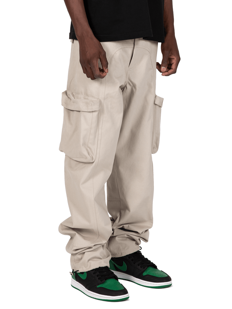 Sand Colored Acro Cargo Pants From Front Right