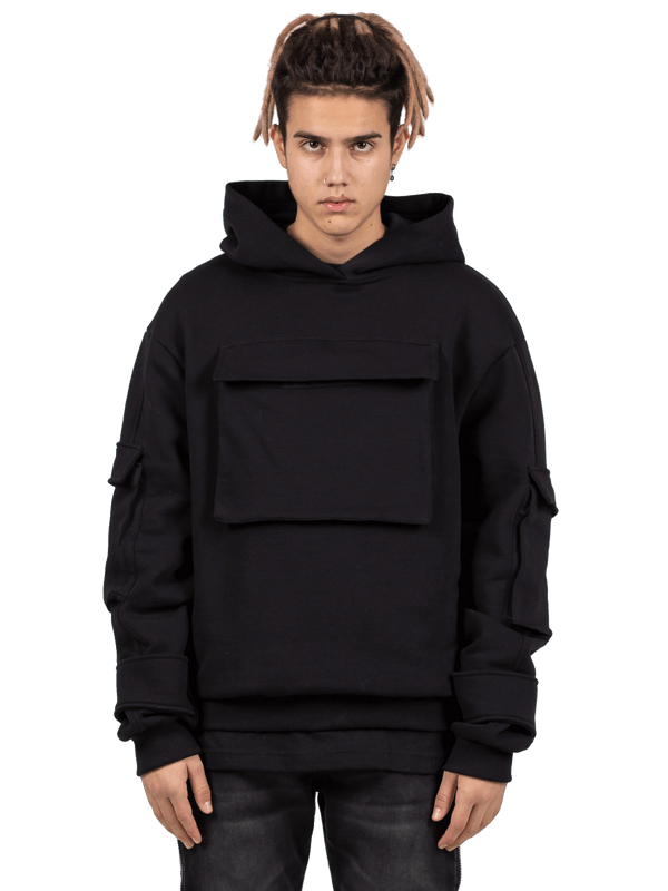 Multi Pocket Hoodie - Black