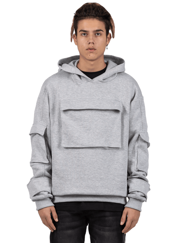 Multi Pocket Hoodie - Heather Grey