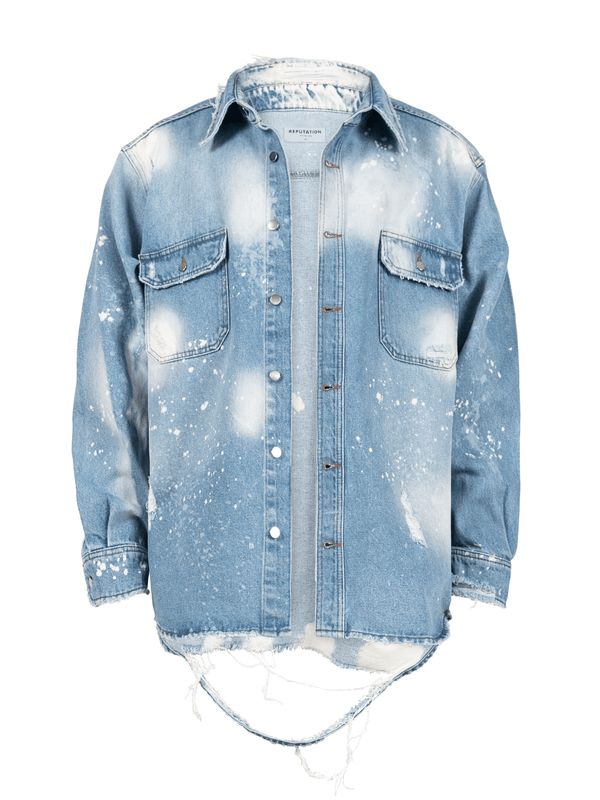 Oversized Denim Shirt - Light Stone