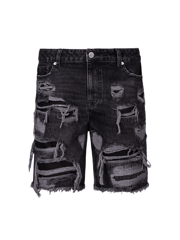 Destroyed Denim Shorts - Black