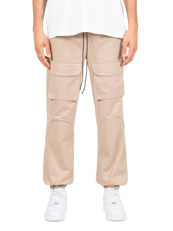 Reflective front pocket pants - Beige