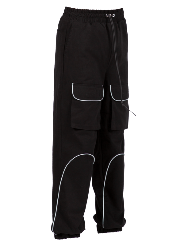 Reflective front pocket pants - Black